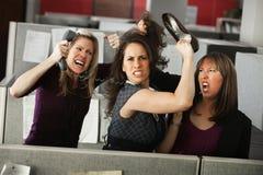 Tre donne che litigano Immagini Stock Libere da Diritti