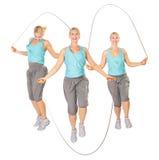 Tre donne con una corda di salto, collage Fotografia Stock