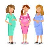 Tre donne incinte felici Maternità e concetto degli amici illustrazione di stock