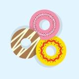 Tre Donuts stock illustrationer