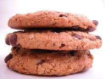 Tre doppi biscotti del cioccolato Immagine Stock