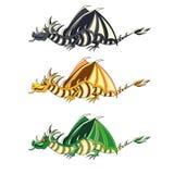 Tre drakar på isolerad vit bakgrundsvektorillustration Arkivbilder