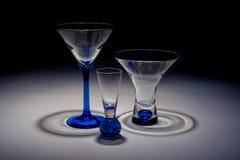 Tre dricka exponeringsglas Arkivfoto