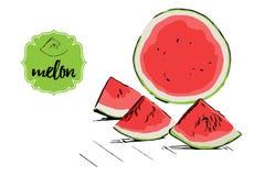 Tre drog melonstycken för tecknad film handen och halva av vattenmelon på skissar golvet F?r lageretikett f?r melon retro emblem stock illustrationer