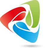 Tre droppar, kulört som är digitala, logo Royaltyfri Bild