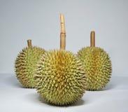 Tre durians Arkivfoto
