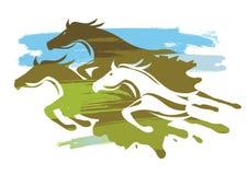 Tre dynamiska stiliserade rinnande hästar royaltyfri foto