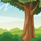Tre e arbustos ilustração royalty free