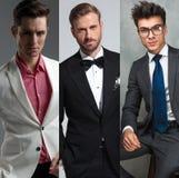 Tre eleganta mäns stående i ett collagefoto royaltyfria bilder