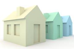 Tre enkla hus 3D Royaltyfri Fotografi
