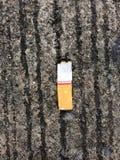 Tre estremità di sigarette sulla terra Fotografia Stock Libera da Diritti