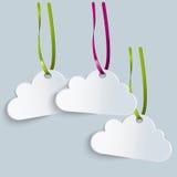 Tre etichette delle nuvole con i nastri colorati Fotografie Stock Libere da Diritti
