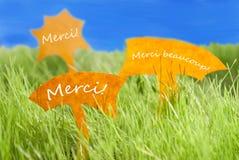Tre etiketter med franska Merci som hjälpmedlet tackar dig och blå himmel Royaltyfri Fotografi