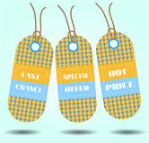Tre etiketter med text, sista chansen, specialt erbjudande, Royaltyfria Foton