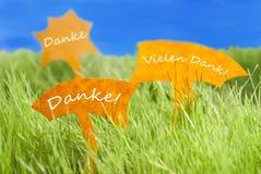 Tre etiketter med tysk Danke som hjälpmedlet tackar dig och blå himmel Royaltyfria Bilder