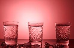 Tre exponeringsglas av vodka royaltyfria foton