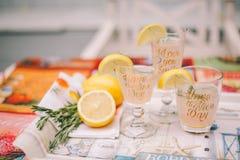 Tre exponeringsglas med citrusa drinkar på ett magasin På exponeringsglasen av citronkilar royaltyfria bilder