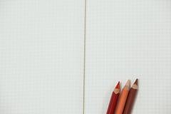 Tre färgade blyertspennor som hålls på anteckningsboken Arkivfoto