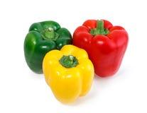 Tre färgade isolerade peppargrönsaker royaltyfri foto
