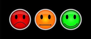 Tre färgade knappar med symboler av sinnesrörelser, gyckel, sorgsenhet, in royaltyfri illustrationer