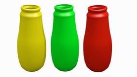 Tre färgar buteljerar Arkivbild