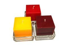 Tre färgar stearinljus Fotografering för Bildbyråer