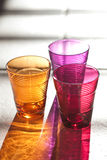 Tre färgdrinkexponeringsglas Arkivfoto