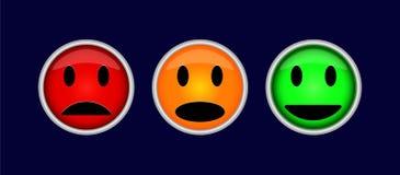 Tre färgrika knappar med symboler av sinnesrörelser, gyckel, sorgsenhet, I vektor illustrationer