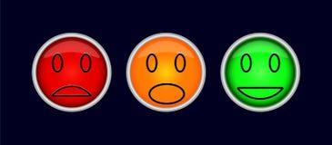 Tre färgrika knappar med symboler av sinnesrörelser, sorgsenhet, gyckel, I stock illustrationer