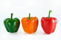 Tre färgrika peppar Arkivfoto