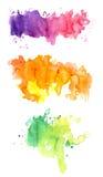 Tre färgrika vattenfärger Royaltyfri Bild