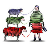 Tre får och en kvinna Royaltyfri Fotografi