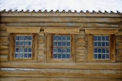 tre fönster Arkivbild