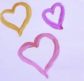 Tre förälskelsehjärtor Arkivfoton
