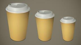 Tre för avhämtning kaffekoppar med lock Royaltyfri Fotografi