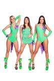 Tre förföriska go-go dansare Royaltyfri Fotografi