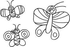 Tre farfalle Immagini Stock Libere da Diritti