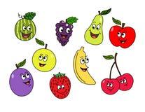Tre farfalle del fumetto Caratteri della frutta di vettore illustrazione di stock