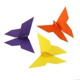 Tre farfalle di origami Fotografia Stock Libera da Diritti