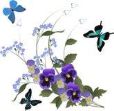 Tre farfalle e mazzo blu del fiore illustrazione vettoriale