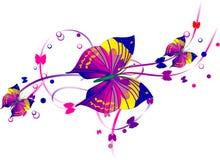 Tre farfalle e rotoli viola Fotografia Stock Libera da Diritti
