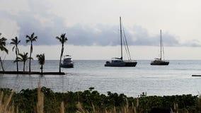 Tre fartyg på ankaret av den stora ön Hawaii stock video