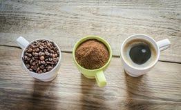 Tre fasi della preparazione del caffè Immagini Stock Libere da Diritti