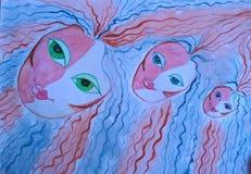 Tre fatati nei miei sogni Pittura fatta a mano illustrazione di stock