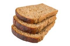Tre fette di pane con l'uva passa Fotografia Stock Libera da Diritti