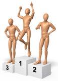 Tre figure, uomini che posano sul podio del vincitore, hanno composto delle monete Immagine Stock