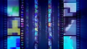 Tre file blu di retro nastri del film illustrazione di stock