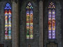 Tre finestre di vetro macchiato colourful in chiesa fotografia stock libera da diritti