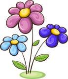 Tre fiori del fumetto Fotografie Stock Libere da Diritti