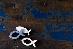 Tre fiskformer på en gammal träyttersida royaltyfri foto